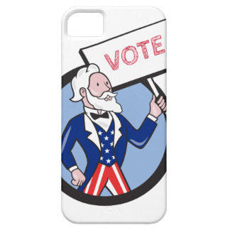 Uncle Sam Holding Placard Vote Circle Cartoon iPhone 5 Case