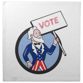 Uncle Sam Holding Placard Vote Circle Cartoon Napkin
