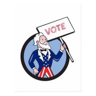 Uncle Sam Holding Placard Vote Circle Cartoon Postcard