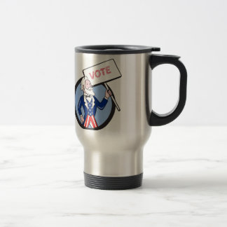 Uncle Sam Holding Placard Vote Circle Cartoon Travel Mug