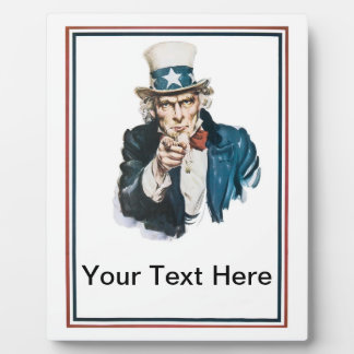 Uncle Sam I Want You Add Your Custom Text Plaque