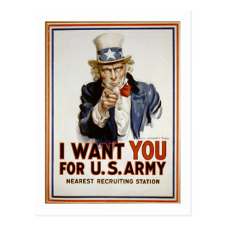 Uncle Sam - I Want You Postcard