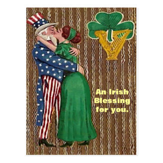 Uncle Sam & Irish Lady Kiss Postcard
