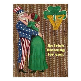 Uncle Sam & Irish Lady Kiss Postcard