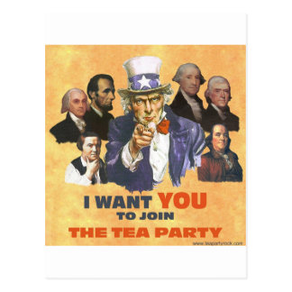UNCLE SAM JOIN TEA PARTY POSTCARD