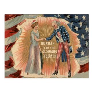 Uncle Sam Lady Liberty US Flag Postcard