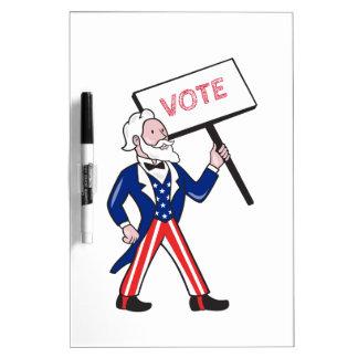 Uncle Sam Placard Vote Standing Cartoon Dry Erase Board