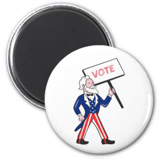 Uncle Sam Placard Vote Standing Cartoon Magnet