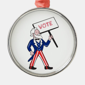 Uncle Sam Placard Vote Standing Cartoon Metal Ornament