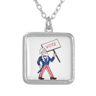Uncle Sam Placard Vote Standing Cartoon Silver Plated Necklace