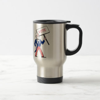 Uncle Sam Placard Vote Standing Cartoon Travel Mug