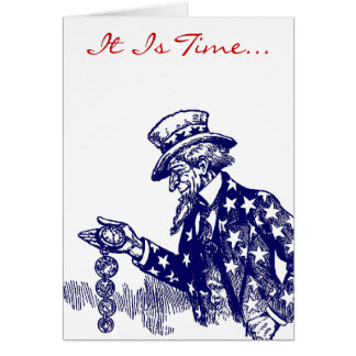 Uncle Sam & Pocket Watch Military Thank You Card