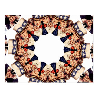 Uncle Sam Pointing Finger Kaleidoscope Postcard