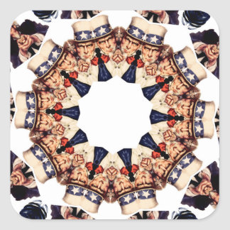 Uncle Sam Pointing Finger Kaleidoscope Square Sticker