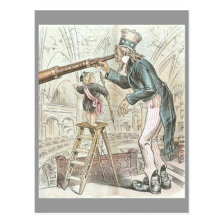 Uncle Sam Points a Telescope Post Card