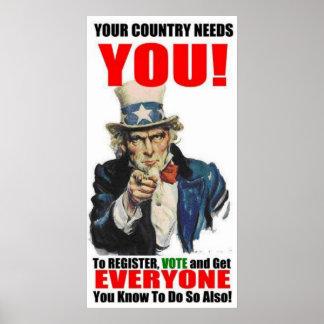 Uncle Sam Register to Vote Poster