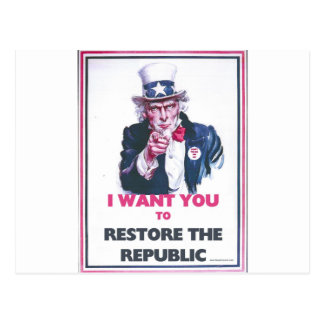 UNCLE SAM RESTORE THE REPUBLIC POSTCARD