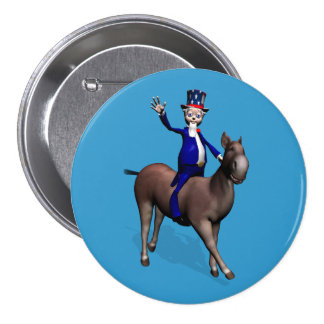 Uncle Sam Riding On Donkey Button