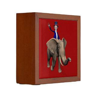 Uncle Sam Riding On Elephant Desk Organiser