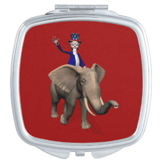 Uncle Sam Riding On Elephant Makeup Mirror