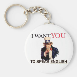 Uncle Sam said I want you to speak english Basic Round Button Key Ring