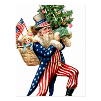 Uncle Sam Santa Claus Christmas Postcard