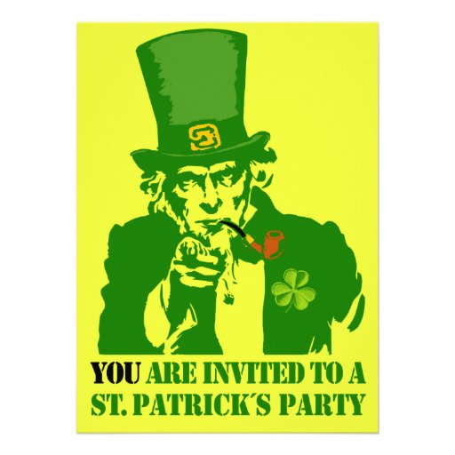 Uncle Sam, St.Patrick´s Day Party Custom Invites