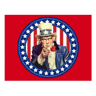 Uncle Sam Stars and Stripes Postcard