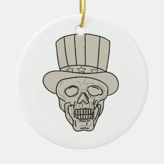 Uncle Sam Top Hat Skull Drawing Ceramic Ornament