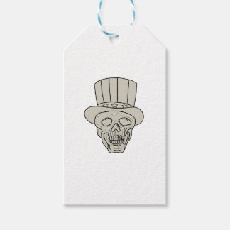 Uncle Sam Top Hat Skull Drawing Gift Tags