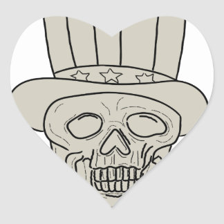 Uncle Sam Top Hat Skull Drawing Heart Sticker