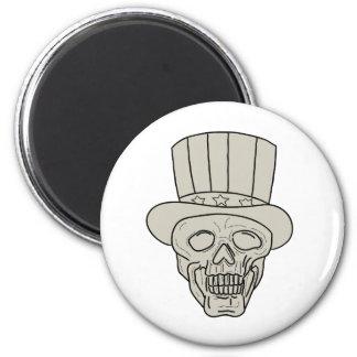 Uncle Sam Top Hat Skull Drawing Magnet