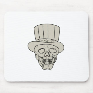 Uncle Sam Top Hat Skull Drawing Mouse Pad