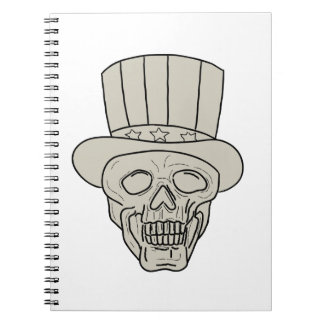 Uncle Sam Top Hat Skull Drawing Notebook