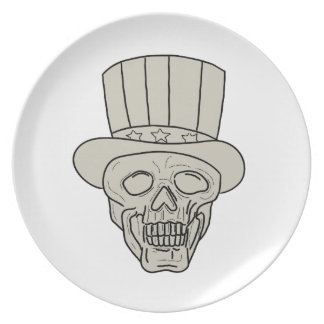 Uncle Sam Top Hat Skull Drawing Plate