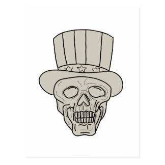 Uncle Sam Top Hat Skull Drawing Postcard