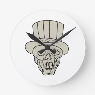 Uncle Sam Top Hat Skull Drawing Round Clock