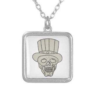 Uncle Sam Top Hat Skull Drawing Silver Plated Necklace
