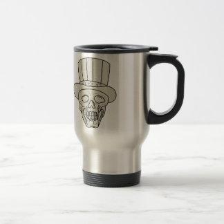 Uncle Sam Top Hat Skull Drawing Travel Mug