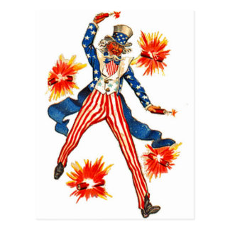 Uncle Sam USA Flag 4th of July Patriotic Vintage Postcard