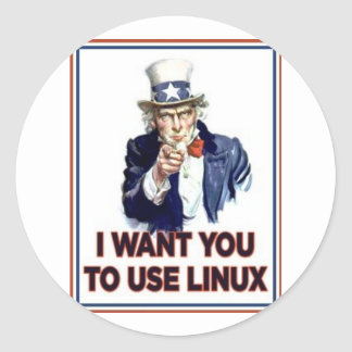 Uncle Sam: Use Linux Round Sticker
