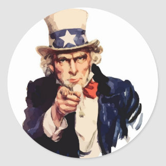 Uncle Sam Vector Round Sticker