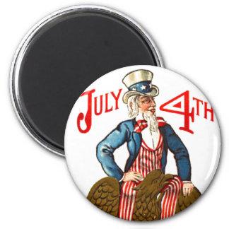 Uncle Sam Vintage July 4th Patriotic 6 Cm Round Magnet