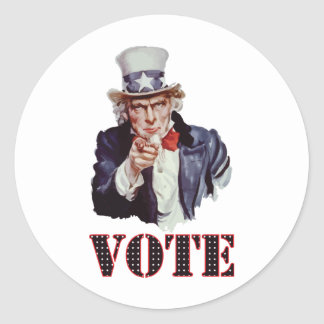 Uncle-Sam---Vote Classic Round Sticker