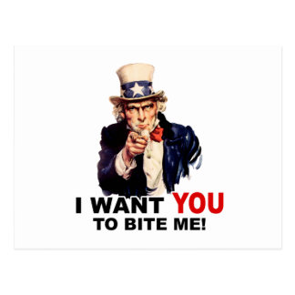 Uncle Sam WANT YOU TO BITE ME Postcard