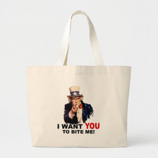 Uncle Sam WANT YOU TO BITE ME Jumbo Tote Bag
