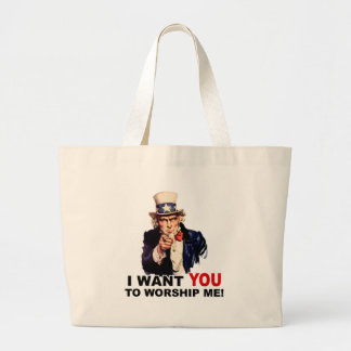 Uncle Sam WANT YOU WORSHIP ME Jumbo Tote Bag