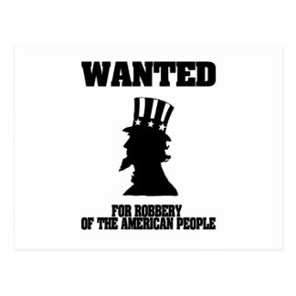 Uncle Sam Wanted For Robbery Post Cards