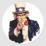 Uncle Sam Wants You! Round Stickers