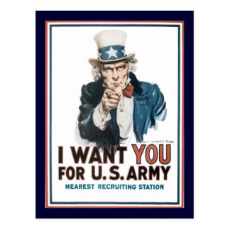 Uncle Sam Wants You World War 2 Postcard